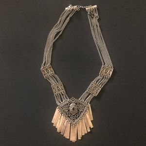 Sliver Medallion Fringes statement necklace New